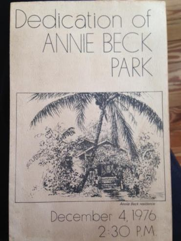 Program from the dedication of Annie Beck Park
